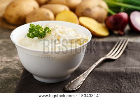 fresh potato salad with mayonnaise and chives