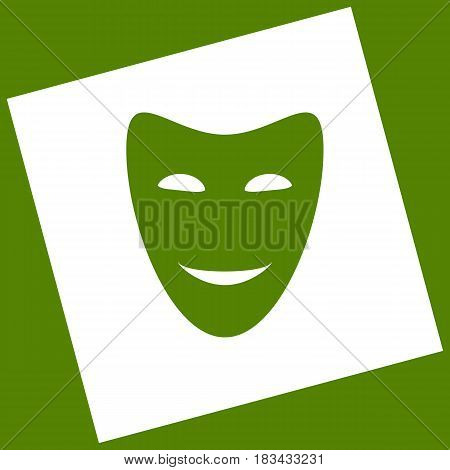 Comedy theatrical masks. Vector. White icon obtained as a result of subtraction rotated square and path. Avocado background.