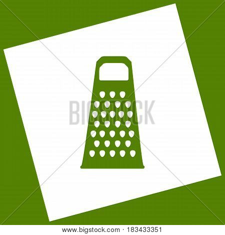 Cheese grater sign. Vector. White icon obtained as a result of subtraction rotated square and path. Avocado background.