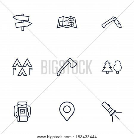 Set Of 9 Adventure Outline Icons Set.Collection Of Guidepost, Pocket Torch, Encampment And Other Elements.