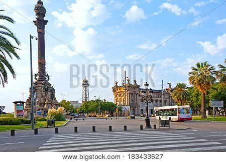 Barcelona, Spain, August 9, 2014: View of Columbus Monument & Columbus square in the early morning hours