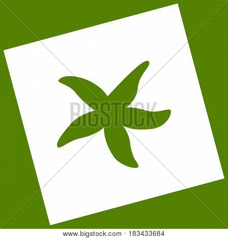 Sea star sign. Vector. White icon obtained as a result of subtraction rotated square and path. Avocado background.
