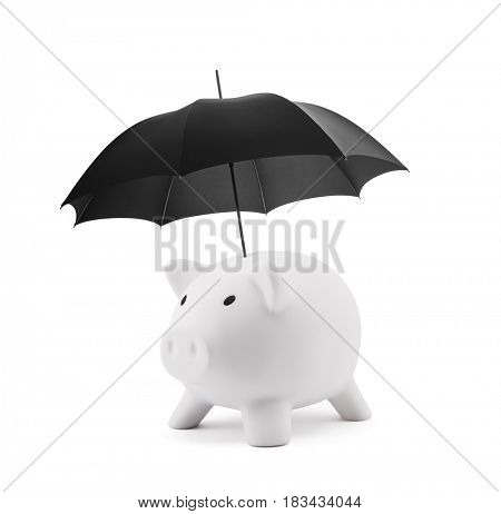 Financial insurance. White piggy bank with umbrella