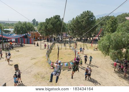 Zipline During The Renaissance Pleasure Faire.