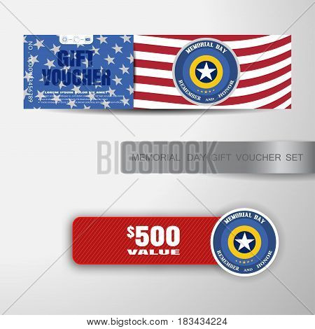 Vector gift voucher for Memorial Day with insert on the gradient gray background.