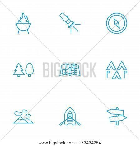 Set Of 9 Picnic Outline Icons Set.Collection Of Rubber Boat, Gps, Forest And Other Elements.