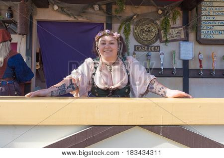 Trade Fair Stand During The Renaissance Pleasure Faire.