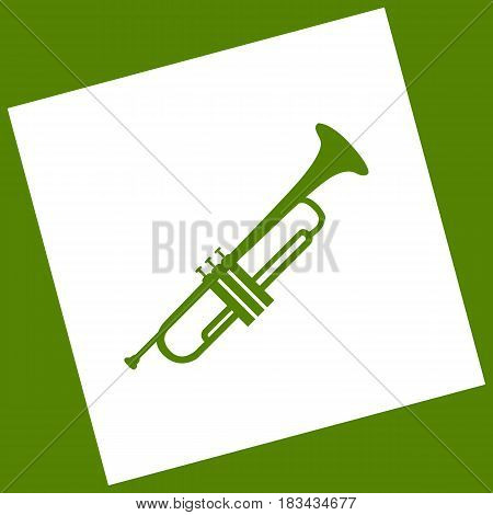 Musical instrument Trumpet sign. Vector. White icon obtained as a result of subtraction rotated square and path. Avocado background.