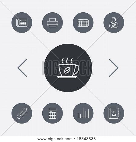 Set Of 9 Bureau Outline Icons Set.Collection Of Telephone Directory, Contacts, Hot Drink And Other Elements.