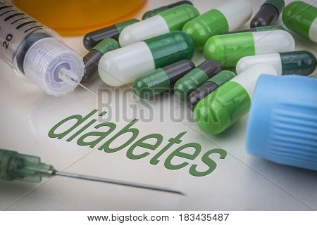 Diabetes, Medicines And Syringes As Concept Of Ordinary Treatment Health