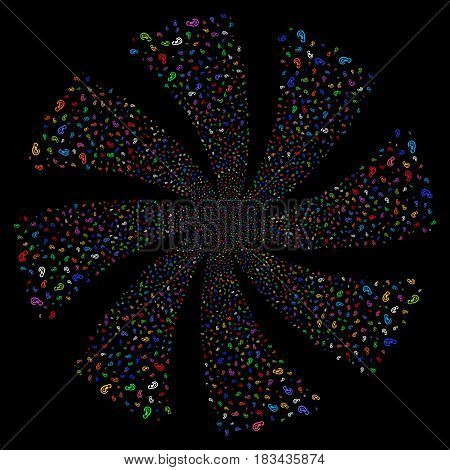 Ear fireworks swirl rotation. Vector illustration style is flat bright multicolored iconic symbols on a black background. Object whirl made from random symbols.
