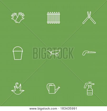 Set Of 9 Horticulture Outline Icons Set.Collection Of Pail, Arm-Cutter, Palisade And Other Elements.