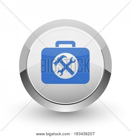 Toolkit chrome border web and smartphone apps design round glossy icon.