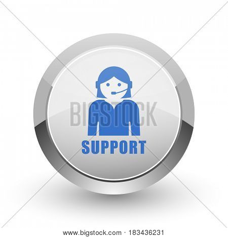 Support chrome border web and smartphone apps design round glossy icon.
