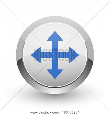 Arrow chrome border web and smartphone apps design round glossy icon.