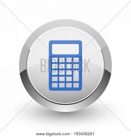 Calculator chrome border web and smartphone apps design round glossy icon.