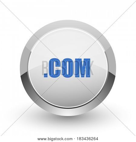 Com chrome border web and smartphone apps design round glossy icon.
