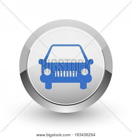 Car chrome border web and smartphone apps design round glossy icon.