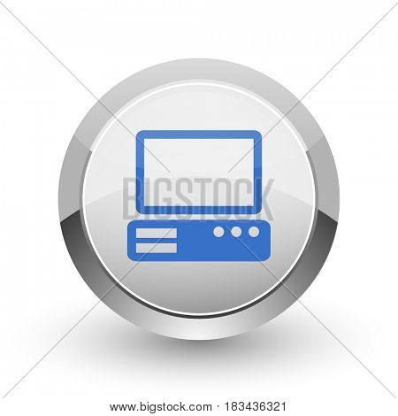 Computer chrome border web and smartphone apps design round glossy icon.