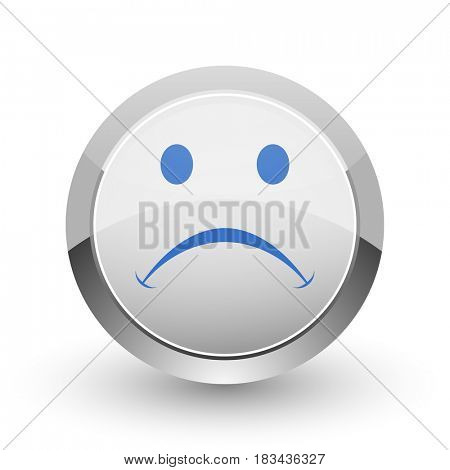 Cry chrome border web and smartphone apps design round glossy icon.