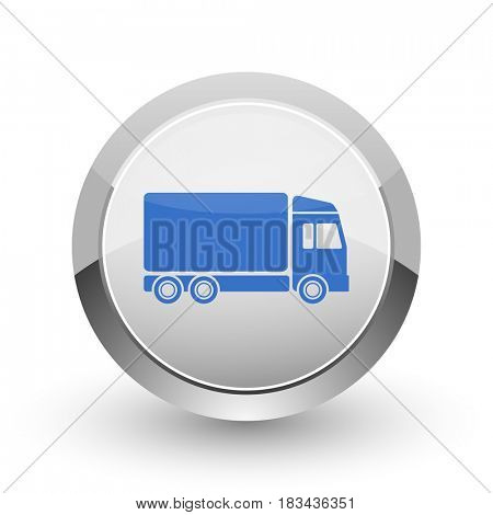 Delivery chrome border web and smartphone apps design round glossy icon.