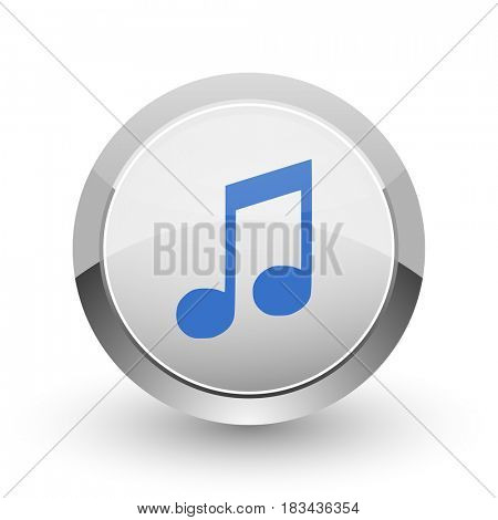 Music chrome border web and smartphone apps design round glossy icon.