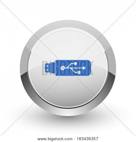 Usb chrome border web and smartphone apps design round glossy icon.