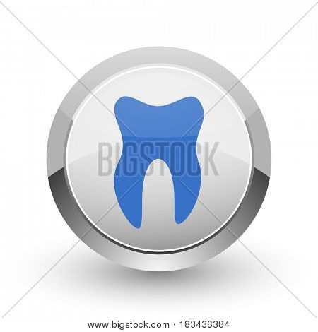 Tooth chrome border web and smartphone apps design round glossy icon.
