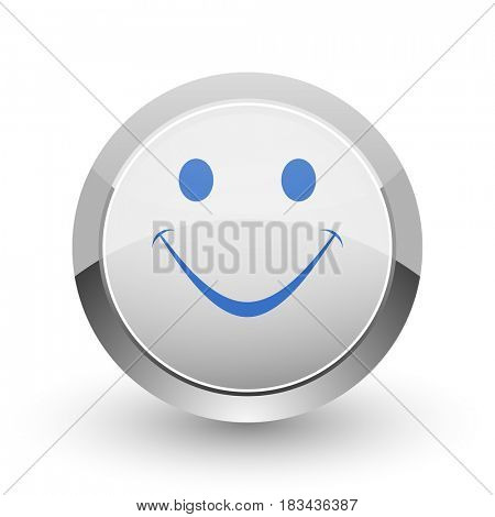Smile chrome border web and smartphone apps design round glossy icon.