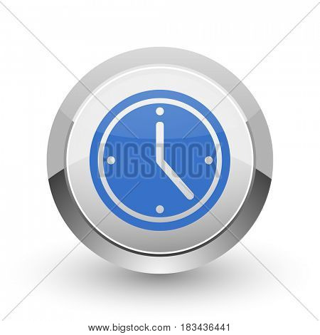 Time chrome border web and smartphone apps design round glossy icon.
