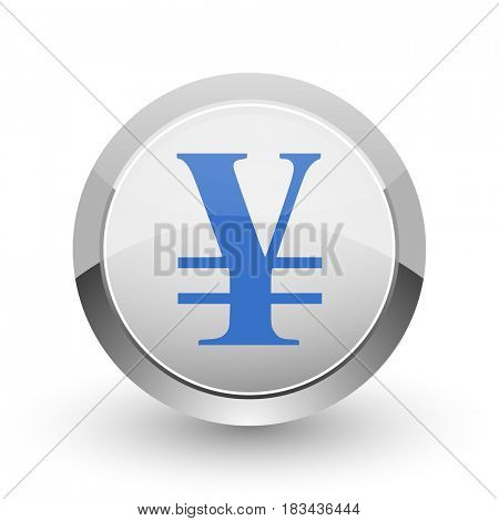 Yen chrome border web and smartphone apps design round glossy icon.
