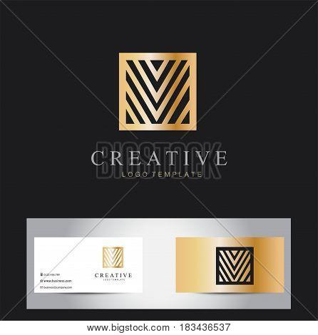 Minimalistic Elegant Logo. Luxury emblem template isolated on black
