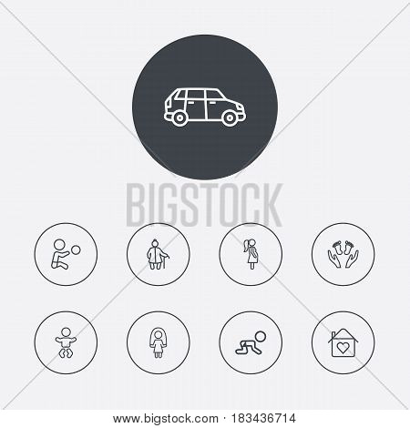 Set Of 9 People Outline Icons Set.Collection Of Skipping Rope, Crawling Kid, Grangmother And Other Elements.