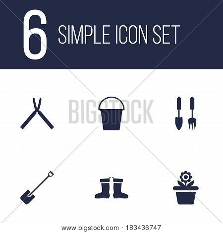 Set Of 6 Farm Icons Set.Collection Of Shovel, Rubber Boots, Scissors And Other Elements.