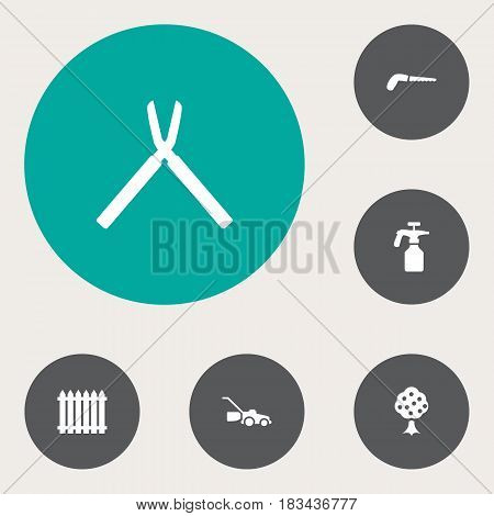 Set Of 6 Horticulture Icons Set.Collection Of Garden, Lawn Mower, Scissors And Other Elements.