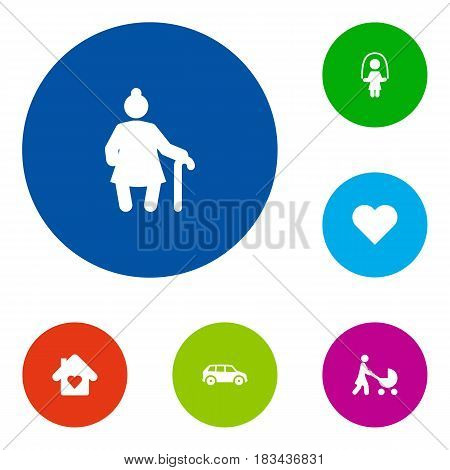 Set Of 6 People Icons Set.Collection Of Heart, Perambulator, Automobile And Other Elements.
