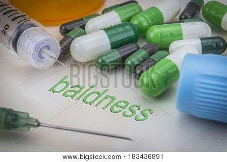 Baldness, Medicines And Syringes As Concept Of Ordinary Treatment Health