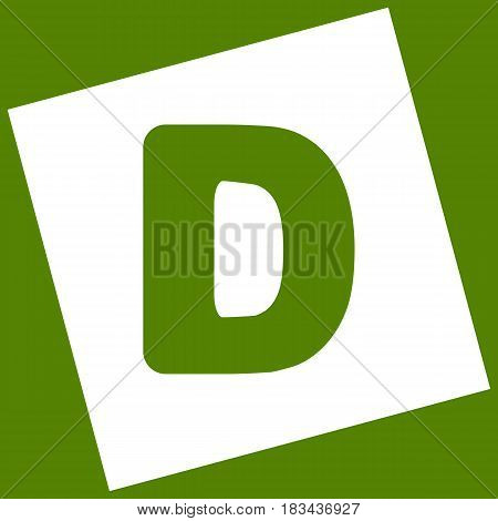 Letter D sign design template element. Vector. White icon obtained as a result of subtraction rotated square and path. Avocado background.