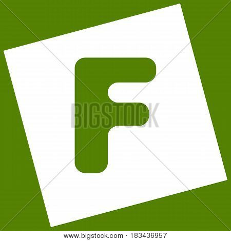 Letter F sign design template element. Vector. White icon obtained as a result of subtraction rotated square and path. Avocado background.