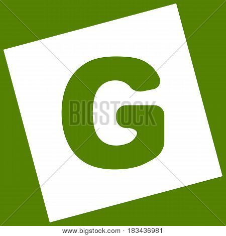 Letter G sign design template element. Vector. White icon obtained as a result of subtraction rotated square and path. Avocado background.