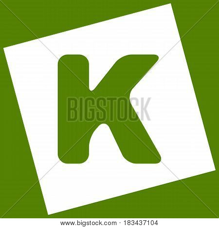 Letter K sign design template element. Vector. White icon obtained as a result of subtraction rotated square and path. Avocado background.