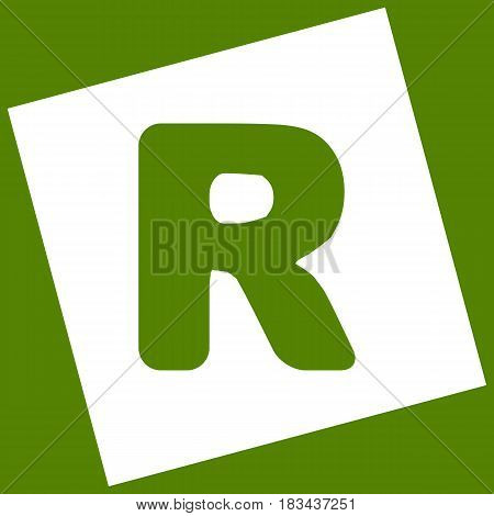 Letter R sign design template element. Vector. White icon obtained as a result of subtraction rotated square and path. Avocado background.