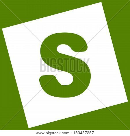 Letter S sign design template element. Vector. White icon obtained as a result of subtraction rotated square and path. Avocado background.