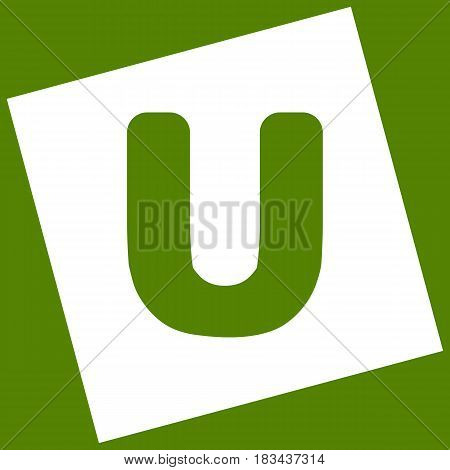 Letter U sign design template element. Vector. White icon obtained as a result of subtraction rotated square and path. Avocado background.