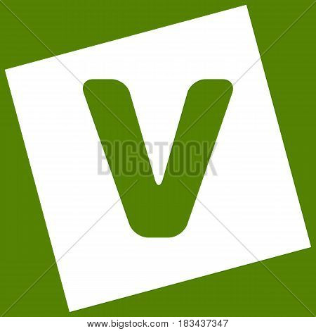 Letter V sign design template element. Vector. White icon obtained as a result of subtraction rotated square and path. Avocado background.