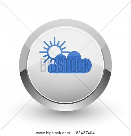 Cloud chrome border web and smartphone apps design round glossy icon.