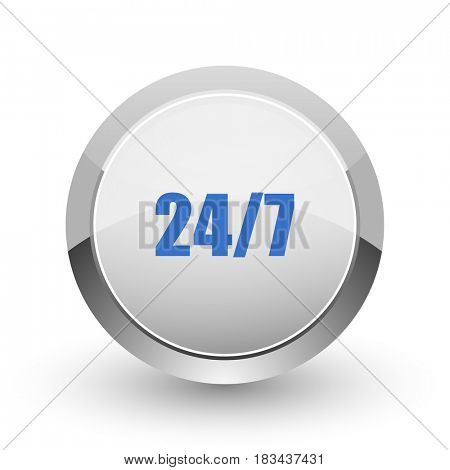 24/7 chrome border web and smartphone apps design round glossy icon.