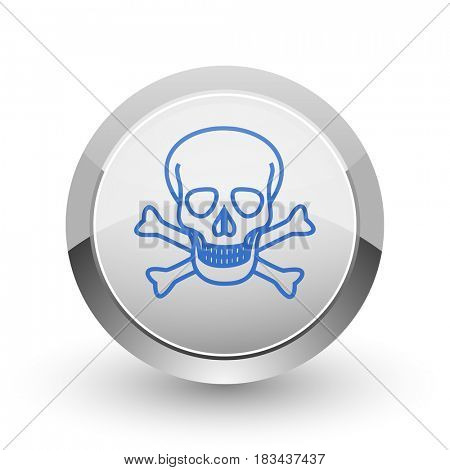 Skull chrome border web and smartphone apps design round glossy icon.