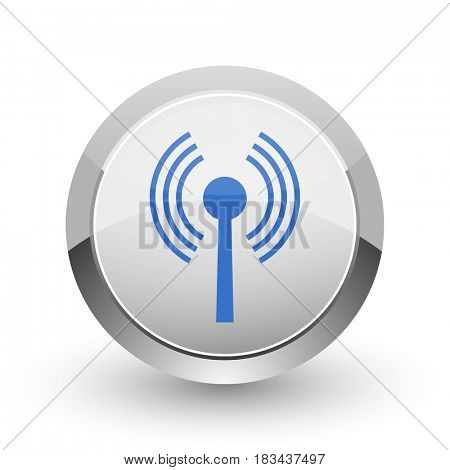 Wifi chrome border web and smartphone apps design round glossy icon.