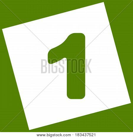 Number 1 sign design template element. Vector. White icon obtained as a result of subtraction rotated square and path. Avocado background.